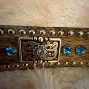 Nocona Belt. Co. 40 Brown Leather Blue Stone Calf
